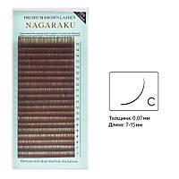 Ресницы коричневые изгиб С 0.07 Mix (7-15) Nagaraku, фото 1