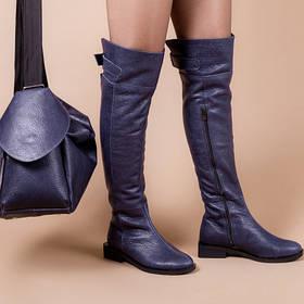 Ботфорты кожаные синие на модном каблуке 3 см классные высокие сапоги размеры от 36 до 40
