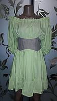 Женское яркое платье на плечики с корсетом, салатовое, М, фото 1