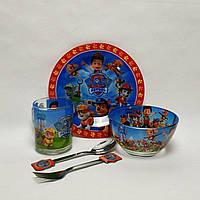 Детский набор стеклянной посуды для кормления Щенячий патруль 5 предметов Metr+