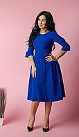 Женское платье миди из турецкой крепкостюмки цвет электрик