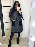 Женское пальто на молнии большой размер
