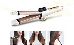 Багатофункціональний випрямляч для волосся бігуді для волосся керамічне покриття Kemei KM-8851 3 в 1