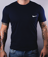 Размеры: 46,48,50,52. Темно-синяя мужская футболка Nike (Найк) / 100% хлопок