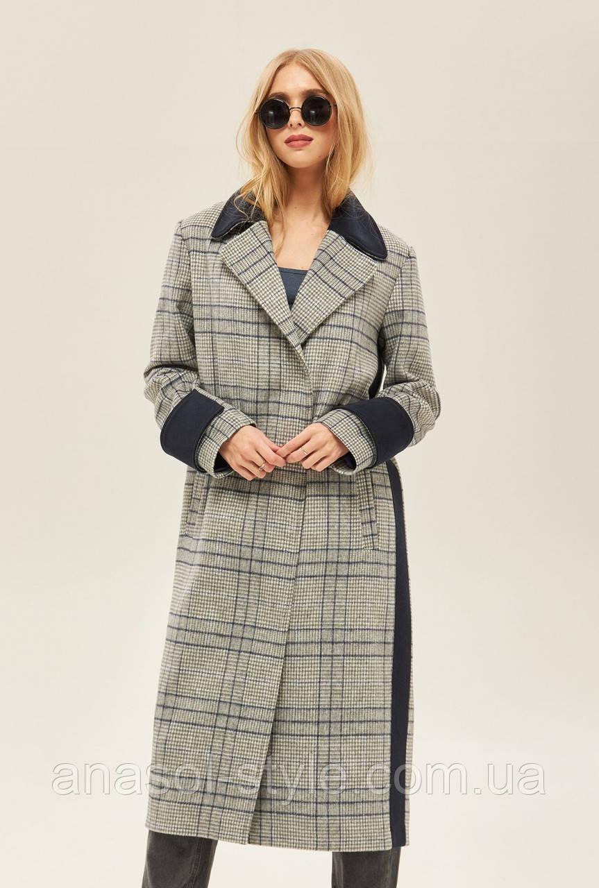 Пальто жіноче весняно 2020 оверсайз сіра клітинка