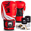 Боксерский набор 5в1 Venum (перчатки 10-14oz кожаные, бинты, капа, брелоки 2уп, упаковка коробка) Красный 10 унции PZ-016_1, фото 6