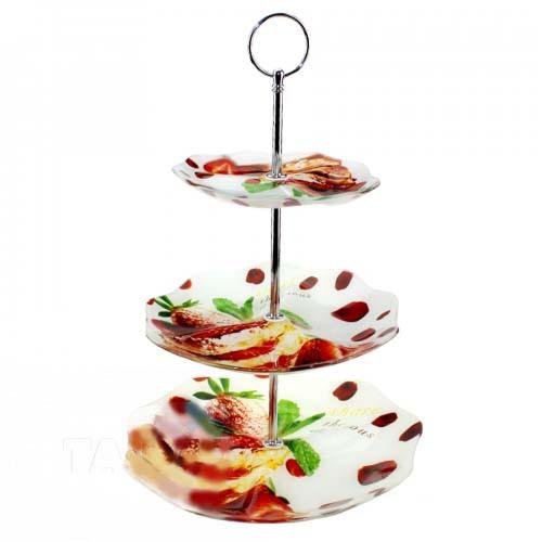 Фруктовница 3-х ярусная круглая (6+8+10)см стекло Клубничный торт