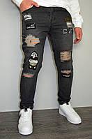Мужские модные рваные джинсы серые