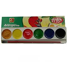Краска акварельная 6 цв. №3023 медовые + кисточка Ш.К. 4601185007172