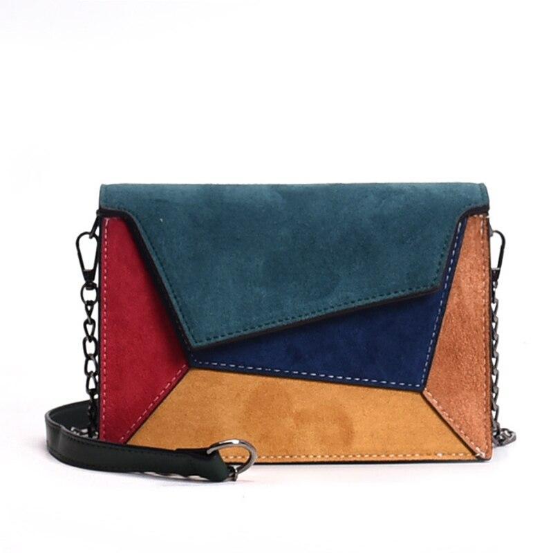 Модная женская замшевая сумка разноцветная код 3-449