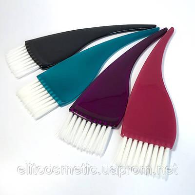 Кисть для окрашивания волос DenIS professional с белой щетиной - кривая ручка