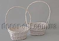 Комплект корзин бело-серых фигурных с берестойх YD190639