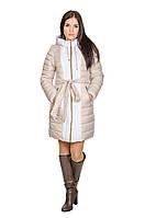 Женская зимняя куртка Алена (бежевый/белый)
