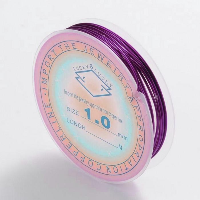 Медная Проволока 1мм/2м, Цвет: Пурпурный, Толщина 1 мм, около 2м/катушка/ Упак.: 1 шт