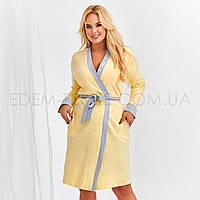 Трикотажный халат для полных женщин Taro 484, Желтый, XXL
