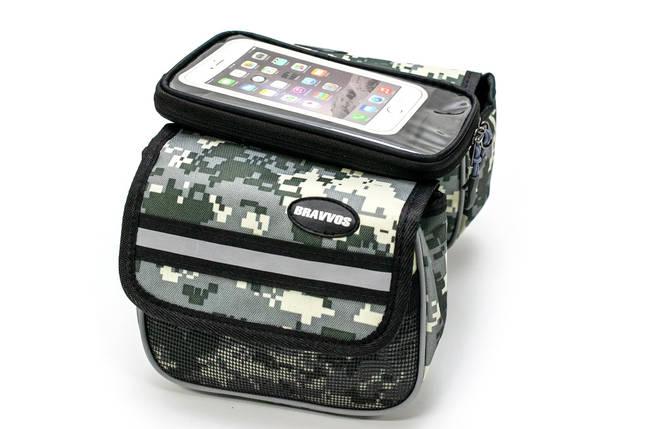 """Велосумка на раму, с отделением под смартфон хаки камуфляж """"пиксель"""" BRAVVOS QL-202, фото 2"""
