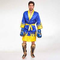 Халат боксерский TWINS FTR-2 (сатин, р-р M-XL-46-52, синий-желтый) Код FTR-2