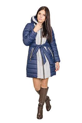 Зимняя куртка женская Алена (синий/светло-серый)