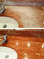Реставрация столешницы из мрамора в ванной комнате