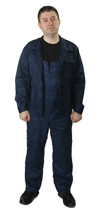 Полукомбинезон с курткой рабочий ОТ летний ECONOM темно-синий, фото 2