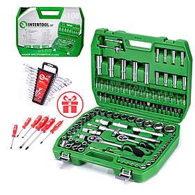 Набор инструментов 108 ед., набор ключей 12 ед. и набор ударных отверток 6 ед. INTERTOOL ET-6108SP-HT-1203-HT-0403