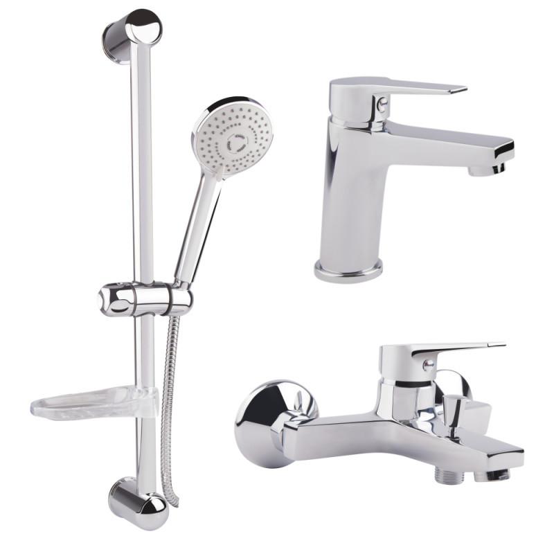 Набор смесителей для умывальника, ванны и душевая стойка Bianchi Bonny KITBON2021SMCRM