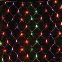 """Гирлянда светодиодная """"Сетка"""" 120 ламп (LED) прозрачный (белый) провод, цвета в ассортименте"""