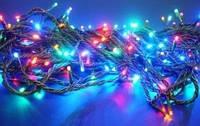 Гирлянда светодиодная 200ламп (LED) черный провод, цвета в ассортименте