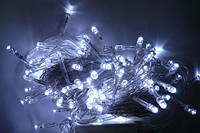Гирлянда светодиодная 100ламп (LED) прозрачный (белый) провод, цвета в ассортименте