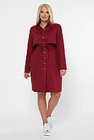 Бордовое платье-рубашка для полных