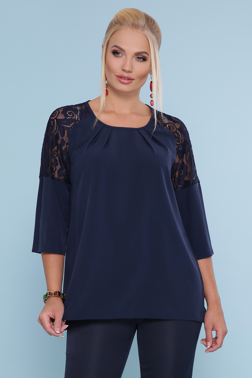 Синя блуза з гіпюром Гретта