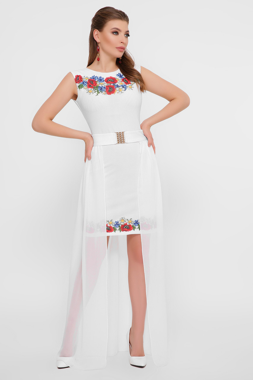 Біле ошатне плаття зі спідницею знімною