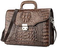 Портфель мужской CROCODILE LEATHER 18261 из натуральной кожи крокодила Коричневый, Коричневый