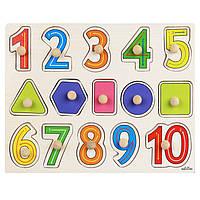 Деревянная игрушка Вкладыши «Цифры-фигуры от 1 до 10», развивающие товары для детей.