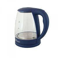 Електрочайник Domotec MS-8211 2200Вт 2.2л Deep blue скло з підсвічуванням(4121)