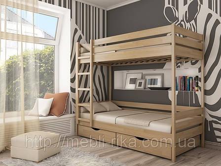 Кровать Дуэт 2-х ярусная (80*190) (Бук/Масив) (с доставкой), фото 2