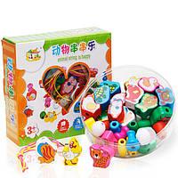 Деревянная игрушка Шнуровка-бусы «Животные», 36 дет., развивающие товары для детей.
