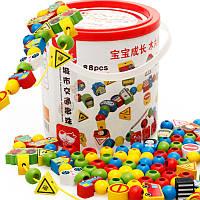 Деревянная игрушка Шнуровка «Транспорт» , 88 дет., развивающие товары для детей.