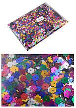Декоративні квіточки, що блищать 8 мм, 0,5 кг мікс кольорів Kidis //