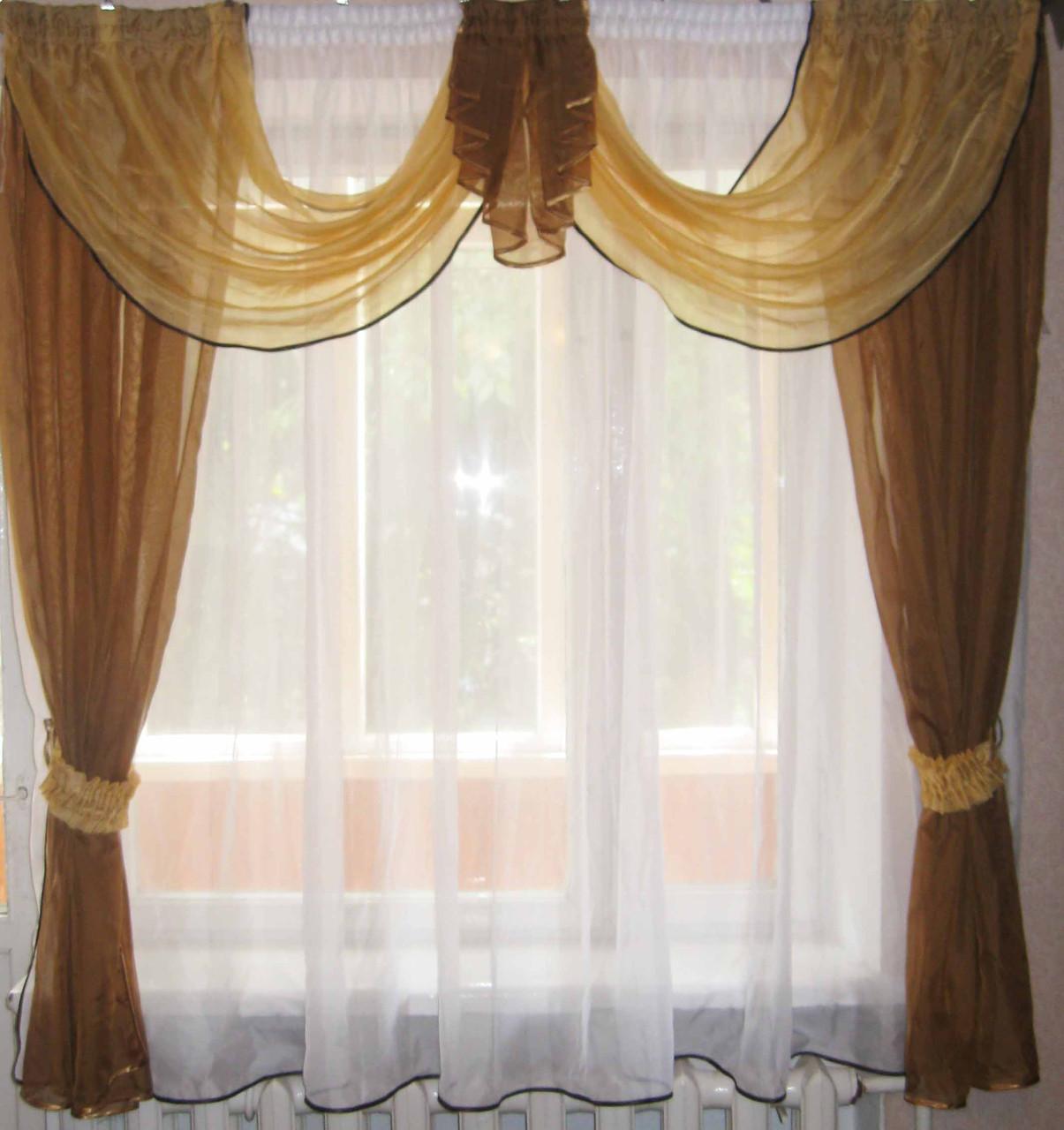 Кухонная занавесь из ламбрекена и тюли  №6.  Цвет коричневый с белым