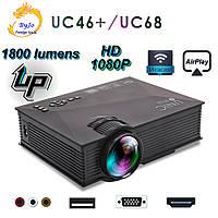 Мультимедийный Wi-Fi  проектор UNIC UC68 BK домашний кинотеатр 1800 люмен светодиодный проектор с HD 1080p