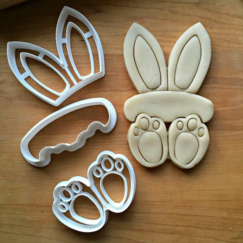 Вырубка пасхальный кролик, комплект вырубки из 3 частей