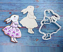Вирубка з відбитком великодній зайчик в сукні