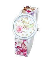 Стильные часы женские на силиконовом цветочном браслете