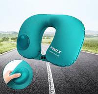 Надувная подушка для шеи со встроенной помпой Travel Neck Pillow Inflatable Foldable RH 34