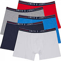 Боксеры Smith And Jones Plus Size Patreon Five Pack s Navy/Red/White/Blue/Grey Navy - Оригинал