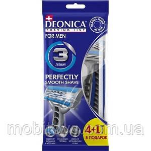 """Станок для бритья """"DEONICA FOR MEN"""" 3 лезвия / 4шт. + 1 шт."""