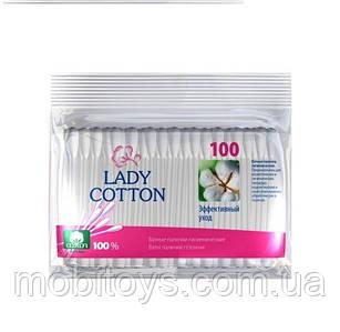 """Ватные палочки для ушей 100шт """"Lady Cotton"""" в полиэт. пак."""