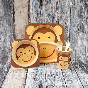 Набор детской посуды из бамбука - Обезьяна