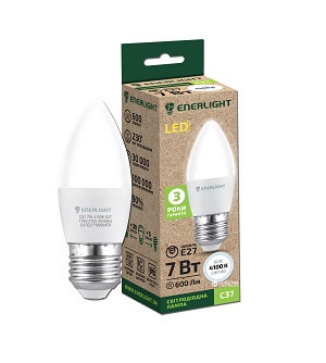 Свеча Лампа светодиодная ENERLIGHT С37 7Вт 4100K E27 Ш.К. 4823093502734